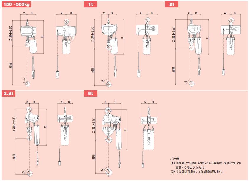 日立电动葫芦尺寸